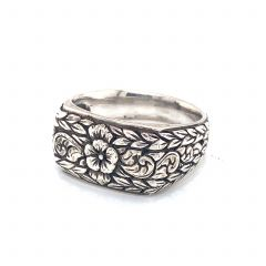 Hand Carved Sterling Silver Fashion Ring
