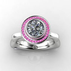 White Gold Pink Sapphire Butterfly Engagement Ring