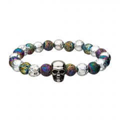 White and Colorful Lava Beads with Skull Bracelet