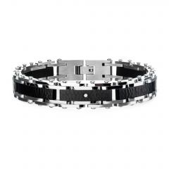 Two Tone Steel, Black Hammered Bracelet with CZ's.