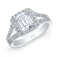 White Gold Cushion Halo Engagement Ring