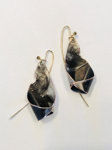 Shibuichi Raku Cone Earrings - 2""