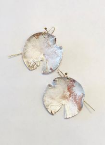 Shibuichi Lunar Circle Earrings - 1 1/2""
