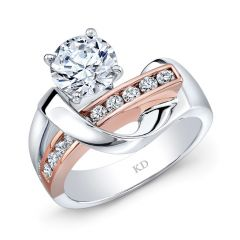 White &Amp; Rose Gold Contemporary Swirled Diamond Engagement Ring