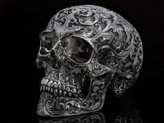 Lee Downey Sterling Silver Life Size Floral Skull