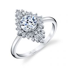 Parade Hera Bridal Diamond Halo Ring  Baguette Diamonds R4914/R1