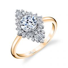 Parade Hera Bridal Diamond Halo Ring  Baguette Diamonds R4914/R1-YW