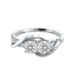 Two-Stone Twisted Shank Diamond Engagement Ring