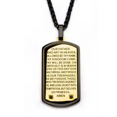 Two Tone w/ Lord's Prayer & CNC Black CZ Gem Dog Tag Pendant with Chain