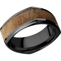 Lashbrook Zirconium 8mm Beveled Square Band With An Inlay Of Whiskey Barrel Hardwood