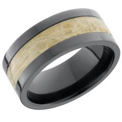 Lashbrook Zirconium 9mm Flat Band With An Inlay Of Boxelder Burl Hardwood