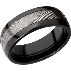 Lashbrook Zirconium Domed 8mm Band With A 4mm Inlay Of Handmade Damascus Steel