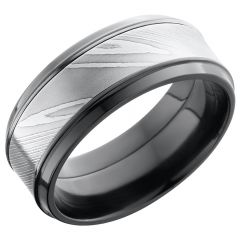 Lashbrook Zirconium 9mm Beveled Band With An Inlay Of Handmade Damascus Steel