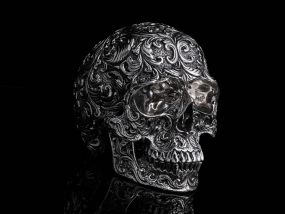 Mini Floral Stainless Steel Skull